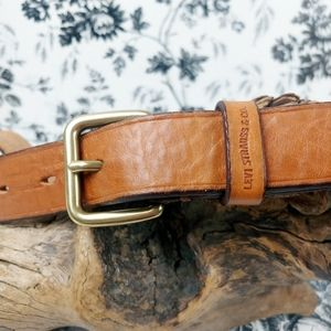 Levi's cognac full grain leather belt gold buckle